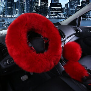 3pcs Red Wine Color Fur Wool Furry Fluffy Thick Car Steering Wheel Cover Winter