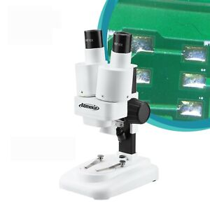 20x Binocular Stereo Microscope With Led For Pcb Solder Repair Tool Hd Vision