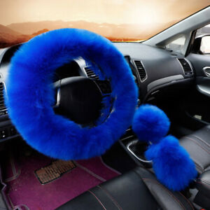 Set Super Warm Soft Gem Natural Fur Long Wool Fuzzy Steering Wheel Cover Blue