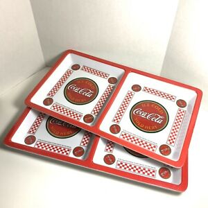 Coca-Cola Gibson Divided Square Plastic Tray Plates Set of 2 | 12