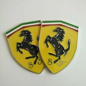2ps Metal Logo Emblem Side Badge Sticker Decal Fender Hood Trunk Fit For Ferrari