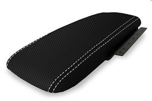 Fits 03 11 Ford Crown Victoria Carbon Fiber Console Armrest Cover White Stitch