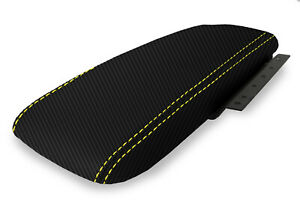 Fits 03 11 Ford Crown Victoria Carbon Fiber Console Armrest Cover Yellow Stitch