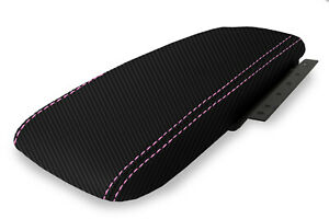 Fits 03 11 Ford Crown Victoria Carbon Fiber Console Armrest Cover Pink Stitch