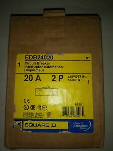 Square D Edb24020 2 Pole 20 Amp Circuit Breaker Poles Breakers Panel Edb 24020