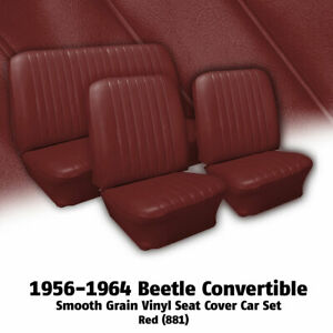 1956 1964 Volkswagen Beetle Convertible Red Vinyl Seat Cover Car Set 309133881