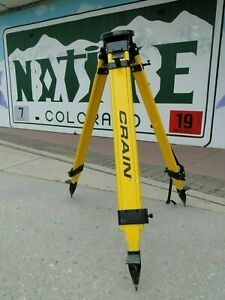 Crain Surveying Tripod Quick Lock Round Head Birchwood For Laser Transit Tools