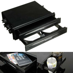 1 X Car Radio Stereo Dash Double Din Kit Drink Cup Holder Storage Box Abs Black