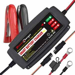 12v Smart Car Battery Charger Maintainer Trickle Motorcycle Truck Suv Lawn Mower