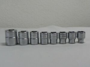 Snap on 8 Piece 3 8 Drive Metric 12 Point Flank Drive Shallow Socket Set fm