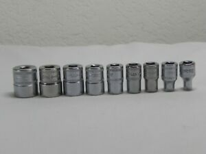 Snap on 9 Piece 1 4 Drive Metric 6 Point Flank Drive Shallow Socket Set tmm