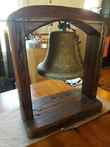 Antique Ships Bell Brass Bronze W Wooden Stand Republica De Colombia 1903