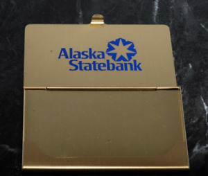 Rare Vintage Alaska State Bank Gold Tone Business Card Holder Case New Old Stoc