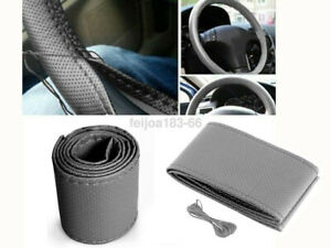 Grey Pu Leather Warming Car Steering Wheel Diy Cover With Needles Thread Z