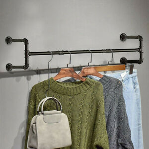 Heavy Duty Pipe Clothes Rack Wall Mounted Garment Bar Detachable Hanging Rod