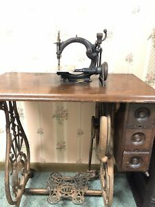 Antique Willcox And Gibbs Sewing Machine And Cast Iron Ornate Stand