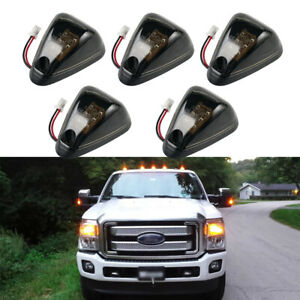 5x 9led Smoked Cab Roof Top Running Marker Amber Lights For Ford F150 1999 2016