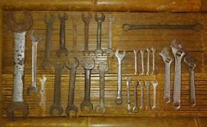 27 Wrench Lot Vintage Tools Open Adjustable Combination Spanner Ratcheting