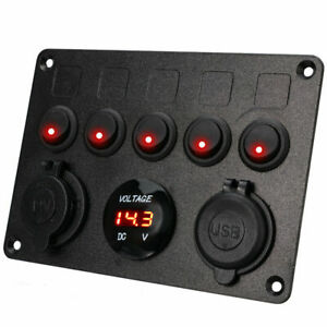 12v 24v 5 Gang Led Rocker Switch Panel On off Toggle 2 Usb Waterproof