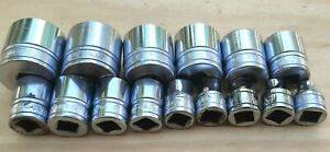 Snap On Tools 15 Piece 3 8 Drive Sae Short Chrome Socket Set 6 Point 1 4 1 In