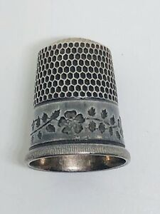 Vintage Simons Bros Sterling Silver Running Flower Leaves Scroll Thimble Sz12