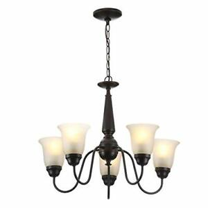 Commercial Electric 5-Light Reversible Chandelier Oil Rubbed Bronze-OB $38.93