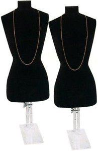 Findingking 2 Black Necklace Bust Jewelry Body Window Case Displays