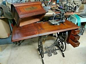 Antique Willcox Gibbs Treadle Sewing Machine Latest Pat April 17 1883