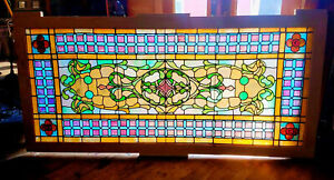 Huge Antique Victorian Stained Glass Window 40 X 87