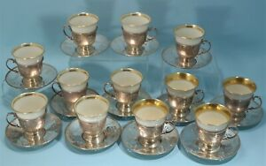 Gorham Sterling Silver Reticulated 12 Espresso Cups Saucers Lenox Cups 1918