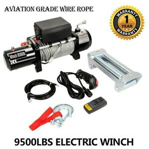 Electric Recovery Winch Truck Suv Wireless Remote Control 12v 9500 With Warranty