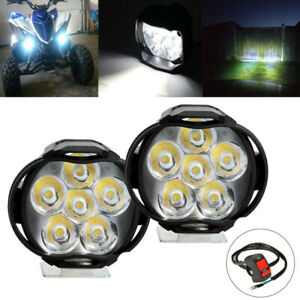 2x Led Motorcycle Atv Utv Scooter Headlight Spot Light Lamp With Button Switch