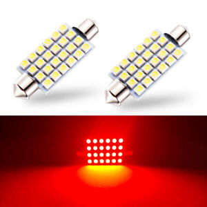 2 X Red Led Interior Map Dome Trunk Lights 42mm 578 211 2 212 2 Festoon Bulbs