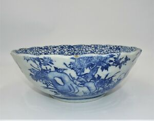 10 Antique Hand Made Chinese Blue White Stenciled Porcelain Serving Bowl