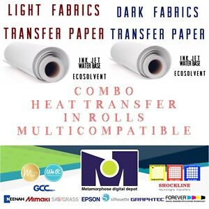 Combo Ink jet Heat Transfer Paper Rolls 2 Light And Dark 24 x50 One Of Each