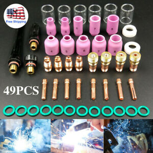49pcs Tig Welding Torch Stubby Gas Lens 10 Pyrex Glass Cup Set For Wp 17 18 26