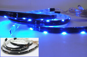 2x 20 Smd Led Strip For Bmw Side Shine Signal Fog Interior Light Blue Universal