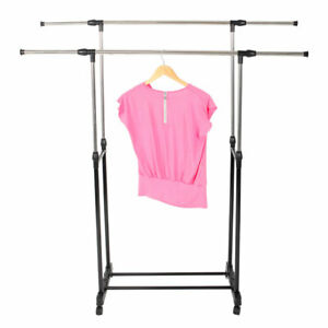 Dual Pole Garment Rack Adjustable Clothes Drying Hanging Bar Rolling Rail