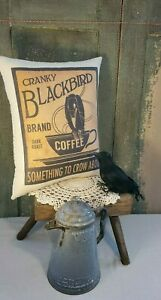 Large Primitive Vintage Cabin Farm Cranky Crow Bird Coffee Advertising Pillow