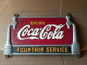 VINTAGE DRINK COCA COLA FOUNTAIN SERVICE CAST IRON BENCH SIGN