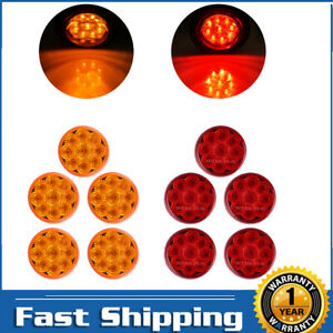 10pcs 2 Inch Amber Red 9 Led Round Clearance Side Marker Lights Truck Trailer