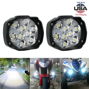 2pc Universal Car Suv Motorcycle 9led Waterproof Lights Fog Light Headlight Lamp