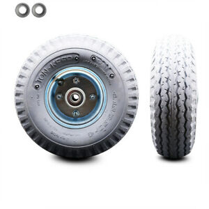 Scc 10 X 3 5 Gray Pneumatic Wheel Only With 4 Centered Hub And Ball Bearings