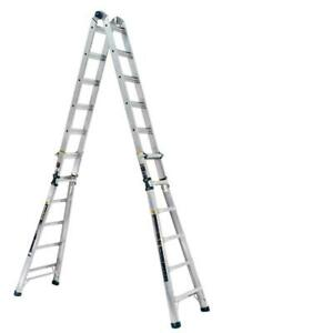 Werner 26 Ft Reach Aluminum 5 in 1 Multi position Pro Ladder With Powerlite Rai