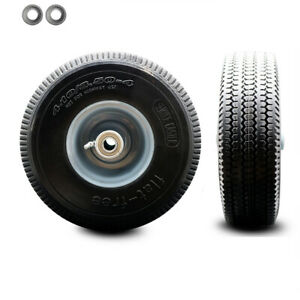 10 X 3 Flat Free Hand Truck Dolly Wheel Only With 4 Centered Hub ball Bearing
