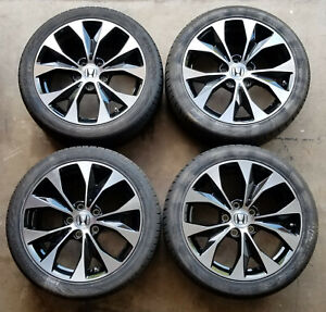 Honda Civic Machined Black 2012 2013 2014 17x7 Oem Wheels Rims Full Set W Tpms