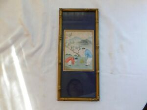 Antique Chinese Hand Painted On Silk Framed Wall Hanging Signed 17x7