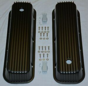 Black Aluminum Big Block Chevy Tall Finned Valve Covers Bbc 396 4