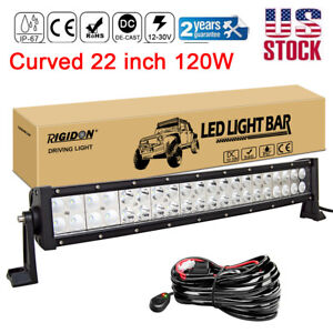 22inch 120w Curved Led Work Light Bar For Off Road Jeep 4wd Suv Atv Car harness