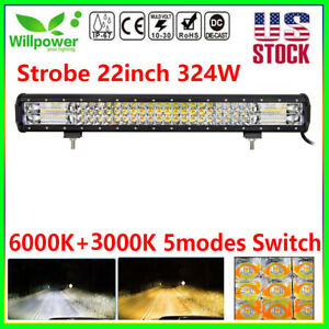 22inch 7d 324w Suv 4wd Truck Off Road Car White Amber Dual Color Led Light Bar